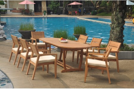 "9 PC Dining Set - 94"" Double Extension Masc Oval Table & 8 Cellore Stacking Arm Chairs"