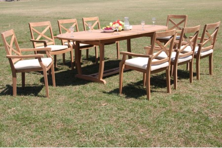 "9 PC Dining Set - 94"" Double Extension Masc Oval Table & 8 Granada Stacking Arm Chairs"