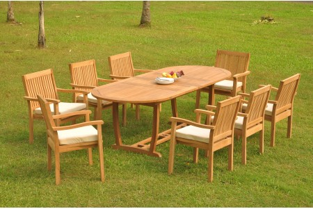 "9 PC Dining Set - 94"" Double Extension Masc Oval Table & 8 Leveb Stacking Arm Chairs"