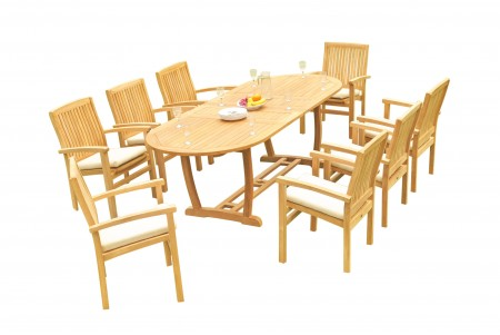 "9 PC Dining Set - 94"" Double Extension Masc Oval Table & 8 Wave Stacking Arm Chairs"