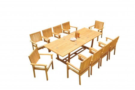 "11 PC Dining Set - 94"" Double Extension Masc Rectangle Table & 10 Leveb Stacking Arm Chairs"