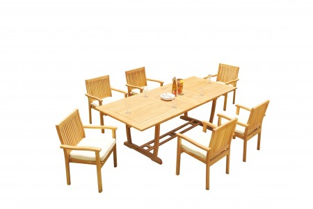 "7 PC Dining Set - 94"" Double Extension Masc Rectangle Table & 6 Leveb Stacking Arm Chairs"