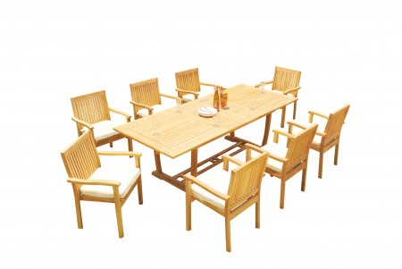 "9 PC Dining Set - 94"" Double Extension Masc Rectangle Table & 8 Leveb Stacking Arm Chairs"