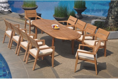 "11 PC Dining Set - 94"" Double Extension Oval Table & 10 Cellore Stacking Arm Chairs"