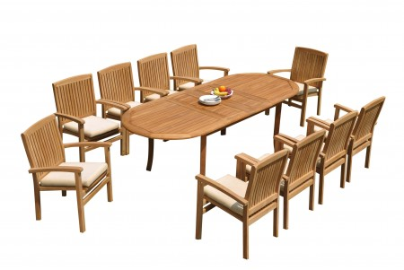 "11 PC Dining Set - 94"" Double Extension Oval Table & 10 Wave Stacking Arm Chairs"