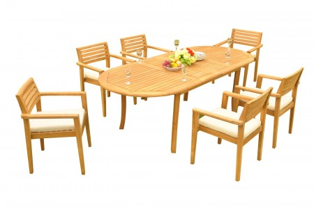 "7 PC Dining Set - 94"" Double Extension Oval Table & 6 Montana Stacking Arm Chairs"