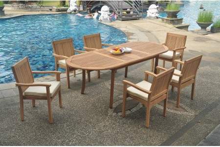 "7 PC Dining Set - 94"" Double Extension Oval Table & 6 Leveb Stacking Arm Chairs"
