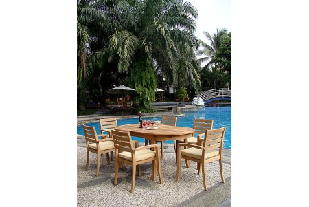 "7 PC Dining Set - 94"" Double Extension Oval Table & 6 Travota Stacking Arm Chairs"