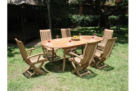 "7 PC Dining Set - 94"" Double Extension Oval Table & 6 Warwick Arm Chairs"