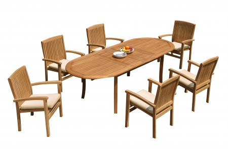 "7 PC Dining Set - 94"" Double Extension Oval Table & 6 Wave Stacking Arm Chairs"