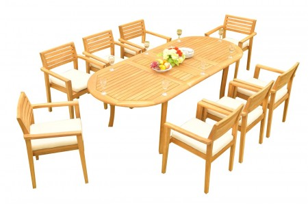 "9 PC Dining Set - 94"" Double Extension Oval Table & 8 Montana Stacking Arm Chairs"