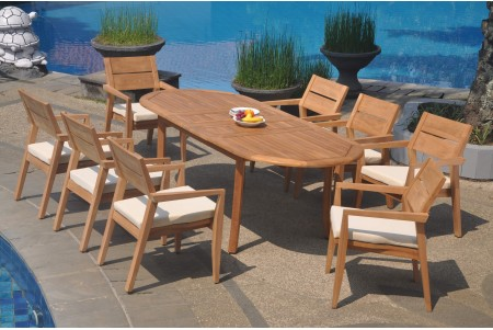 "9 PC Dining Set - 94"" Double Extension Oval Table & 8 Cellore Stacking Arm Chairs"