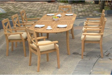 "9 PC Dining Set - 94"" Double Extension Oval Table & 8 Granada Stacking Arm Chairs"