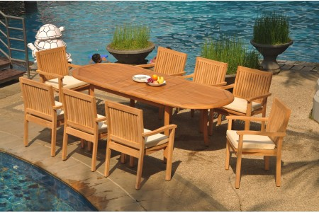 "9 PC Dining Set - 94"" Double Extension Oval Table & 8 Leveb Stacking Arm Chairs"
