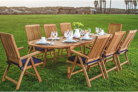 "9 PC Dining Set - 94"" Double Extension Oval Table & 8 Marley Arm Chairs"