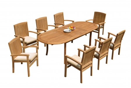 "9 PC Dining Set - 94"" Double Extension Oval Table & 8 Wave Stacking Arm Chairs"