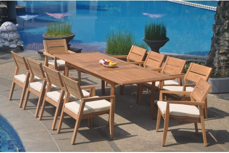"11 PC Dining Set - 94"" Double Extension Rectangle Table & 10 Cellore Stacking Arm Chairs"