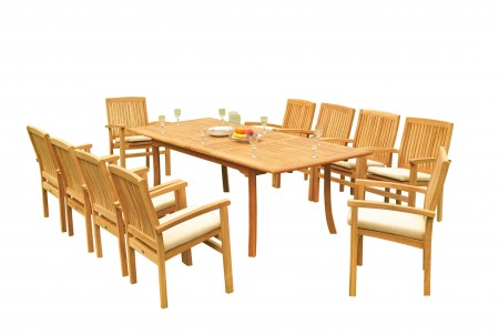 "11 PC Dining Set - 94"" Double Extension Rectangle Table & 10 Wave Stacking Arm Chairs"
