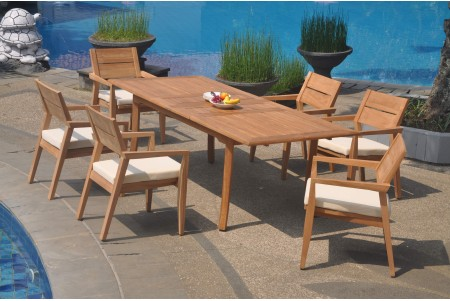 "7 PC Dining Set - 94"" Double Extension Rectangle Table & 6 Cellore Stacking Arm Chairs"