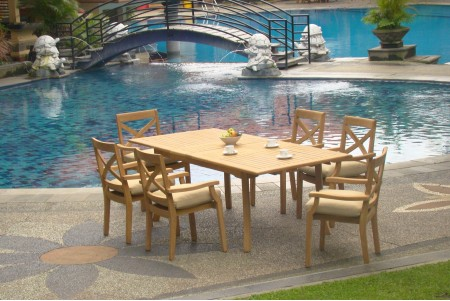 "7 PC Dining Set - 94"" Double Extension Rectangle Table & 6 Granada Stacking Arm Chairs"