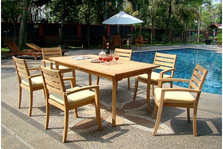 "7 PC Dining Set - 94"" Double Extension Rectangle Table & 6 Travota Stacking Arm Chairs"