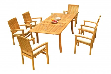 "7 PC Dining Set - 94"" Double Extension Rectangle Table & 6 Wave Stacking Arm Chairs"