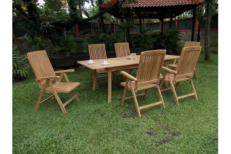 "7 PC Dining Set - 94"" Double Extension Rectangle Table & 6 Marley Arm Chairs"