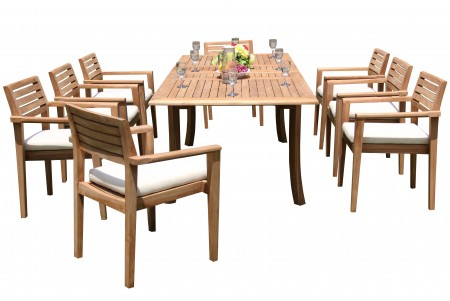"9 PC Dining Set - 94"" Double Extension Rectangle Table & 8 Montana Stacking Arm Chairs"