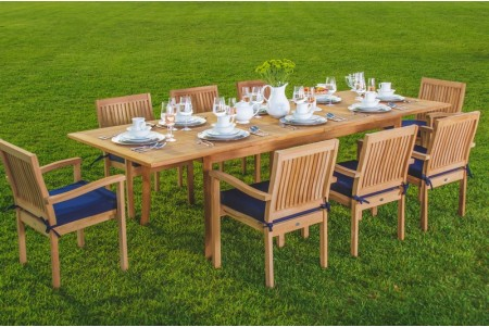 "7 PC Dining Set - 94"" Double Extension Rectangle Table & 6 Leveb Stacking Arm Chairs"