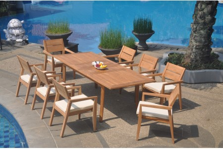 "9 PC Dining Set - 94"" Double Extension Rectangle Table & 8 Cellore Stacking Arm Chairs"
