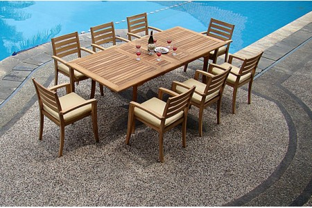 "9 PC Dining Set - 94"" Double Extension Rectangle Table & 8 Travota Stacking Arm Chairs"