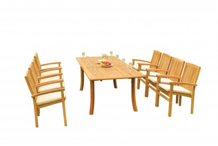 "9 PC Dining Set - 94"" Double Extension Rectangle Table & 8 Wave Stacking Arm Chairs"