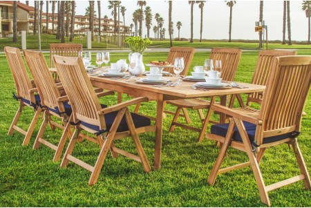 "9 PC Dining Set - 94"" Double Extension Rectangle Table & 8 Marley Arm Chairs"