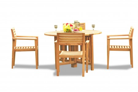"5 PC Dining Set - 48"" Round Butterfly Table & 4 Montana Stacking Arm Chairs"