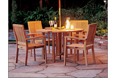 "5 PC Dining Set - 48"" Round Butterfly Table & 4 Leveb Stacking Arm Chairs"
