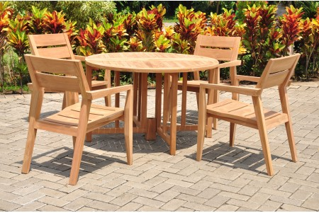 "5 PC Dining Set - 48"" Round Butterfly Table & 4 Cellore Stacking Arm Chairs"