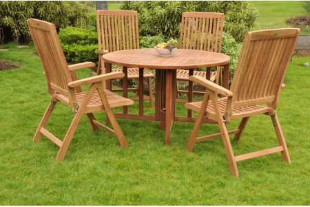 "5 PC Dining Set - 48"" Round Butterfly Table & 4 Marley Arm Chairs"