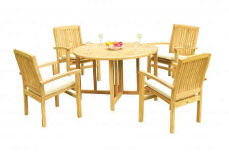 "5 PC Dining Set - 48"" Round Butterfly Table & 4 Wave Stacking Arm Chairs"