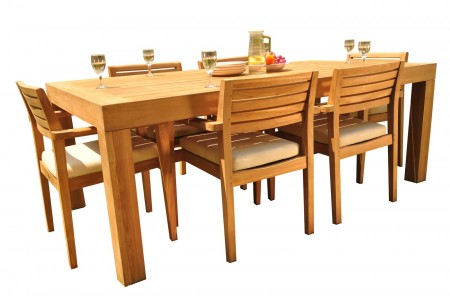 "7 PC Dining Set - 86"" Rectangle Table & 6 Montana Stacking Arm Chairs"
