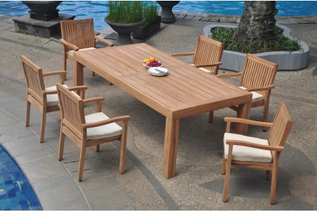 "7 PC Dining Set - 86"" Rectangle Table & 6 Leveb Stacking Arm Chairs"