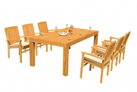 "7 PC Dining Set - 86"" Rectangle Table & 6 Wave Stacking Arm Chairs"