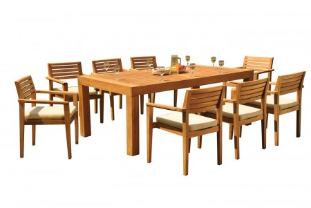 "9 PC Dining Set - 86"" Rectangle Table & 8 Montana Stacking Arm Chairs"