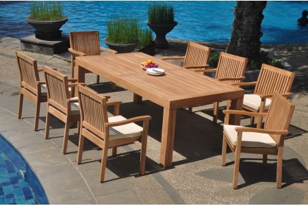 "9 PC Dining Set - 86"" Rectangle Table & 8 Leveb Stacking Arm Chairs"
