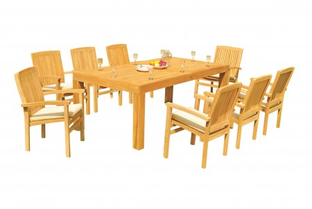 "9 PC Dining Set - 86"" Rectangle Table & 8 Wave Stacking Arm Chairs"