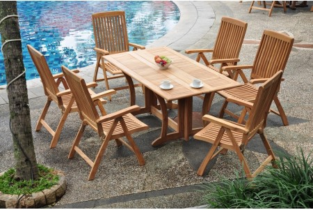 "7 PC Dining Set - 69"" Warwick & 6 Marley Arm Chairs"