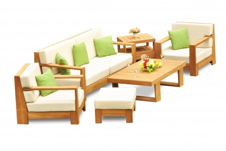 6 PC Canberra Sofa Set - 3 Seater Sofa, 2 Lounge Chairs, 1 Ottoman, 1 Coffee Table and 1 Side Table