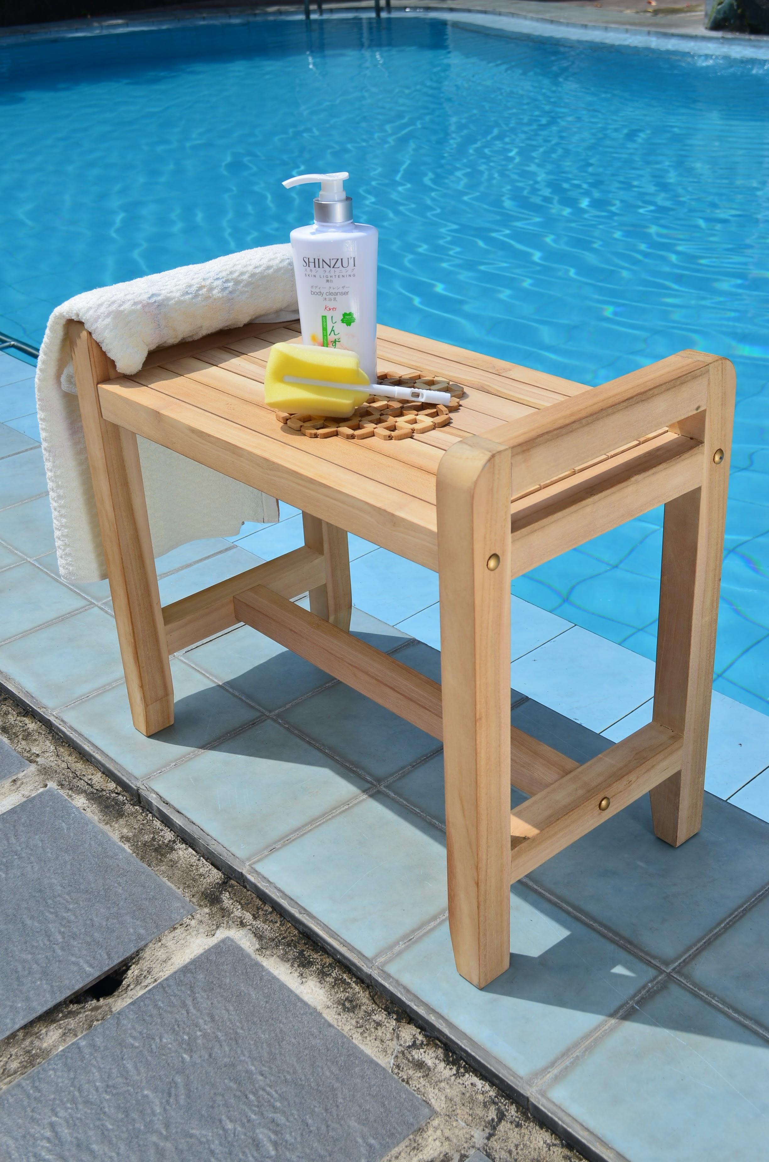 Contemporary Teak Wood Shower Stool Component Bathtub