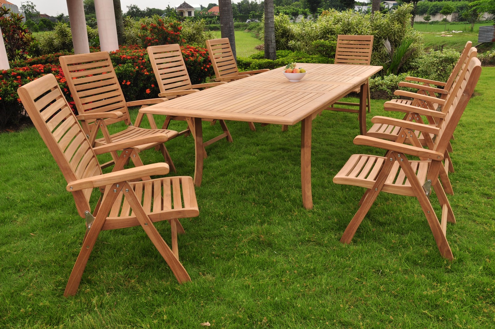 9 Pc Dining Teak Chairs Patio Furniture X02 Ashley Folding Recline Collection Ebay