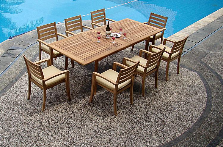 "9-Piece Outdoor Teak Dining Set: 94"" Rectangle Table, 8"