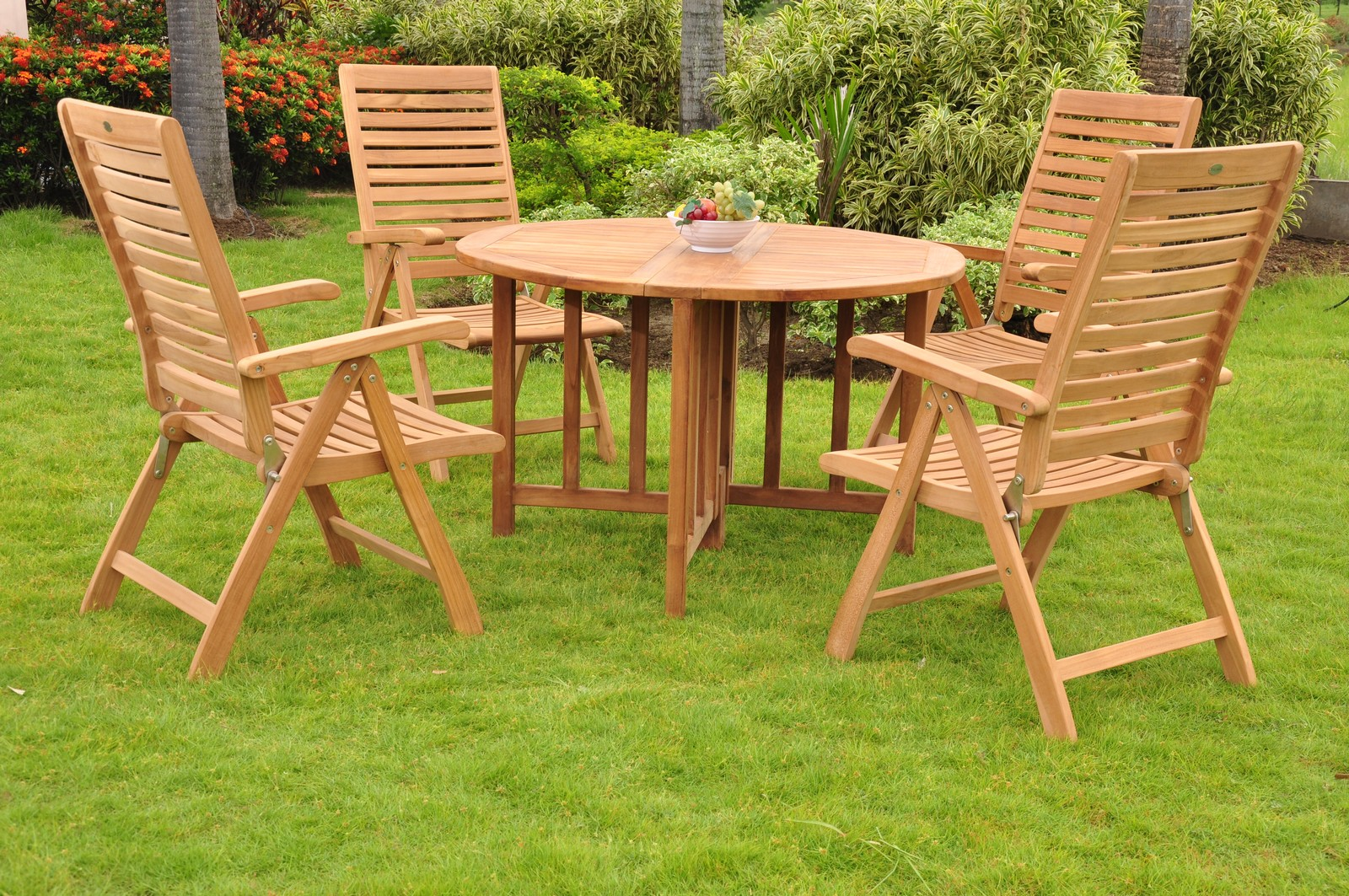 5 pc dining teak set garden outdoor patio furniture ashley for Best deals on garden furniture sets